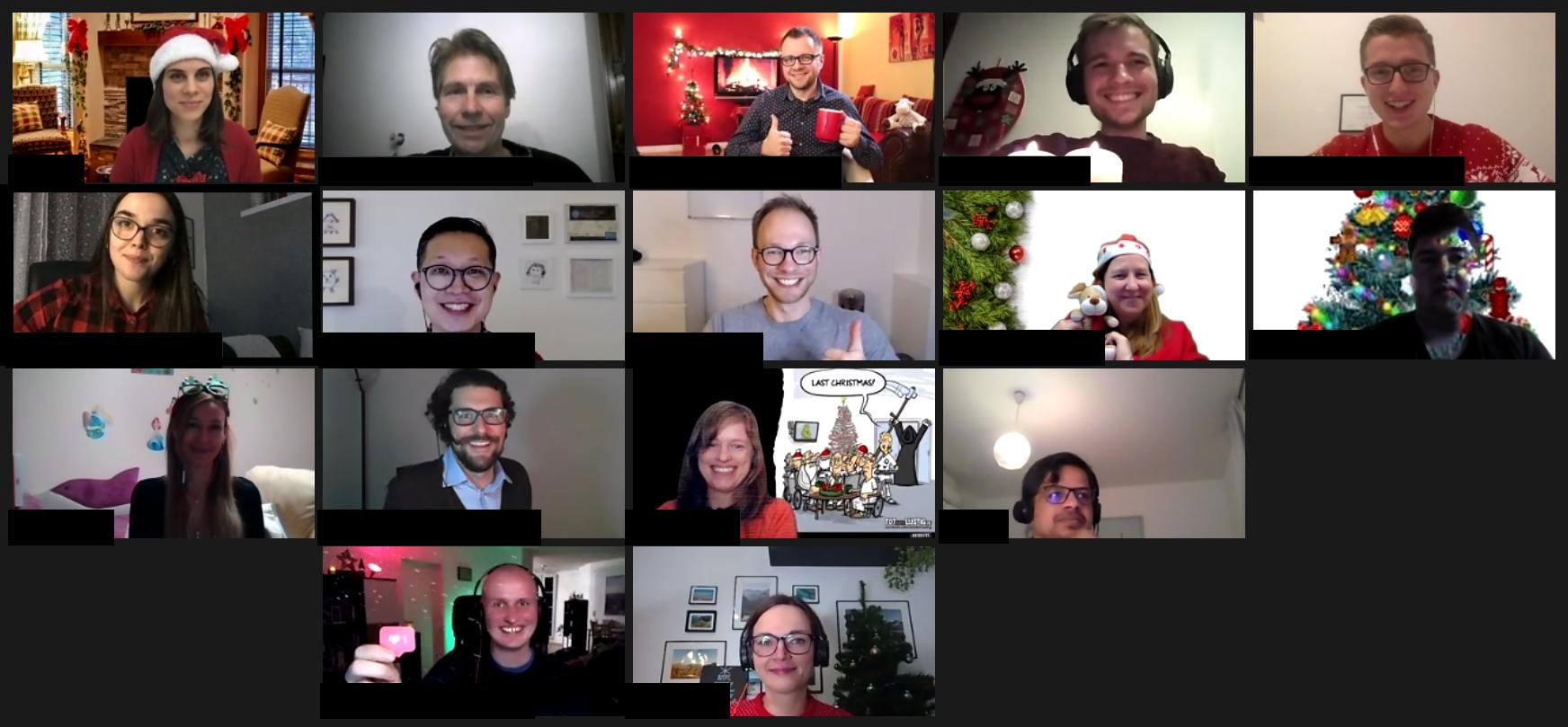 Screenshot einer Videokonferenz der Toastmasters Dortmund, Weihnachtsfeier 2020